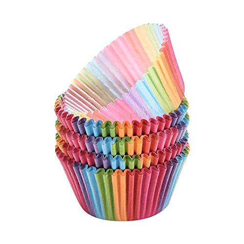 IMJONO Couleurs moule Cake Liner caissette a muffin capcake Case Boîte à gâteau de lune Boîte à papier Coupe Outil de décoration de gâteau Rond Et Gelée Chocolat Antiadhésif (Multicolore, 6.1CMX7.5CM)