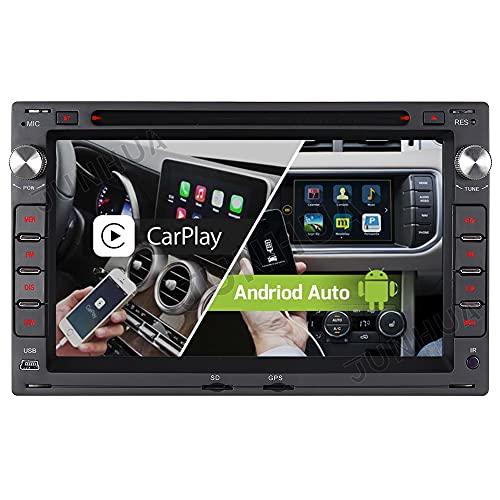 Android 10.0 Dual-FM Tuner Autoradio Eingebautes Android Auto+CARPLAY 2GB+32GB Rohm-DSP Bluetooth 5.0 DVD GPS Navigation Für VW Golf 4 Passat B5 Polo Sharan Bora T5 Transporter Lupo WiFi AUX