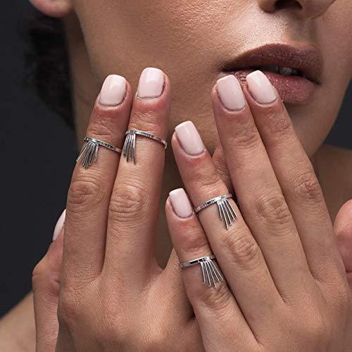 Set mit 4 Midi-Ringen aus gekräuseltem Sterlingsilber mit Spikes, griechischem handgefertigtem Schmuck von Emmanuela, ungewöhnlichen Ringen, modernem Ringset
