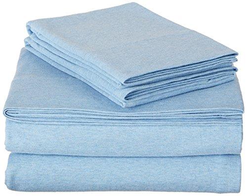 AmazonBasics Heather Cotton Jersey Bed Sheet Set - King, Sky Blue