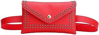 YWSCXMY-AU Fashion Women's Belt Bag Solid Color Rivet Shoulder Pocket Female PU Leather Casual Waist Pack (Color : Red)