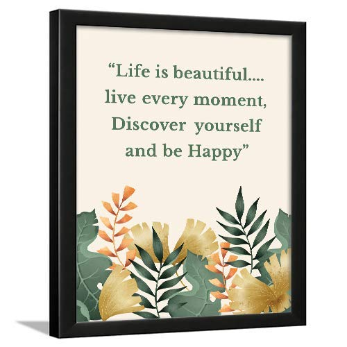 Chaka Chaundh - Life Quotes Frames - Life Quotes Wall Frames - Wall Frames for Living Room - Bed Room Quotes -Framed Wall Posters for Living Rooms -(34 X 27 X 4) cm (Green)