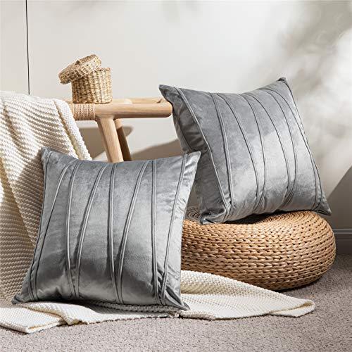 Top Finel Juegos 2 Hogar Cojín Terciopelo Suave Decorativa Almohadas Fundas de Color Sólido para Sala de Estar sofás 45X45cm Gris
