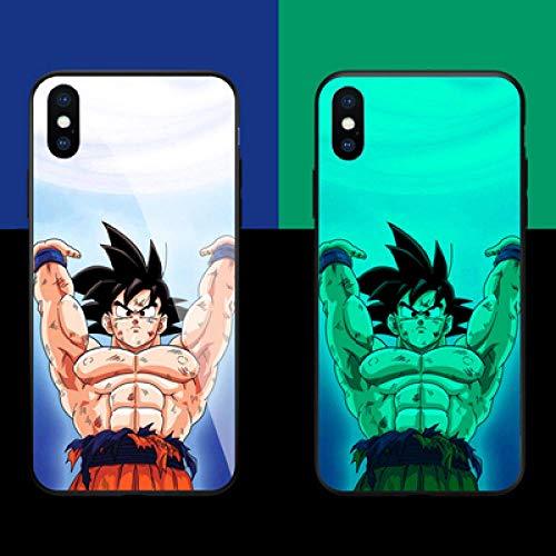 Funda Protectora para iPhone con Cordón Anime Dragon Ball Funda para Teléfono Resplandor de La Noche Goku Carcasa de Vidrio Templado Antifricción (Compatible con Iphone12 Mini)