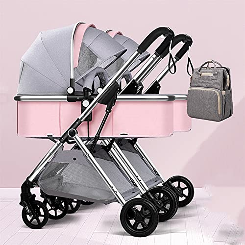 YXCKG Double Stroller   Lightweight Double Pram with Tandem Seating Foldable Split into Two for Infant and Toddler, Mommy Bag, Anti-Shock Twins Pushchair Baby Strollers, with Oversized Canopy