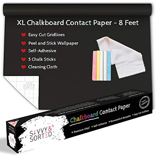 "XL Black Chalkboard Contact Paper - 8 FT (17.7""W x 96""L) Chalk Board Paper Roll - Self Adhesive Wall Paper Blackboard Wall Decal Sticker - Removable Chalkboard Wallpaper Stick and Peel - Chalk Sticks"