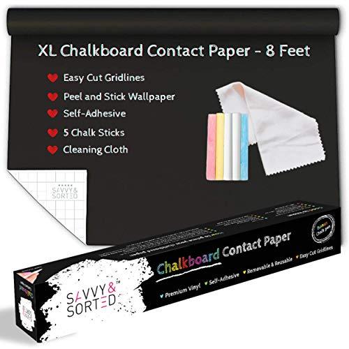 XL Black Chalkboard Contact Paper - 8 FT (17.7'W x 96'L) Chalk Board Paper Roll - Self Adhesive Wall Paper Blackboard Wall Decal Sticker - Removable Chalkboard Wallpaper Stick and Peel - Chalk Sticks