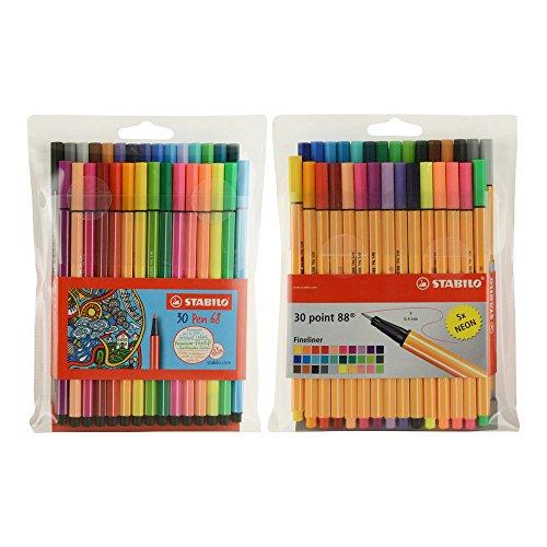 Stabilo 68+88 Dual 30 Pen Wallet Sets