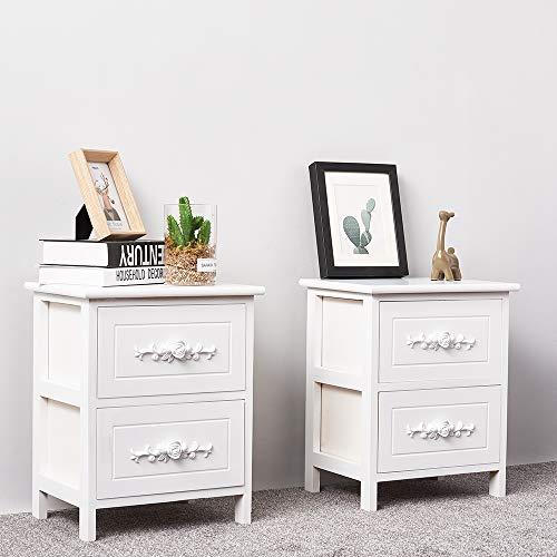 Songtree - 1 Par de Mini Mesilla de Noche Blanca Asidero Diseño Rosas Tallada para Dormitorio Sala con 2 Cajónes Dejar Lámpara Fotos