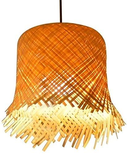 KMILE Sudeste asiático DIY Handwoven Bamboo Ratán Colgante Luces Creative Personalidad Hecho A Mano Retro Industrial Luz Colgante Para Restaurante Sala de té Pot Shop Techo Linterna E27