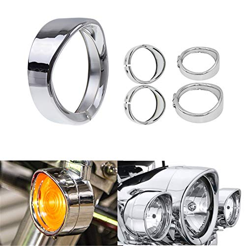 """HDBUBALUS Visor Style 7"""" Headlight Trim Ring 4 1/2"""" Fog Light Trim Ring with Turn Signal Trim Ring Set Chrome Fit for Harley Softail Touring"""