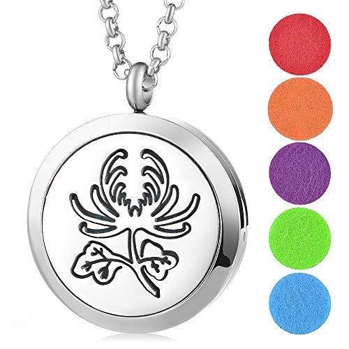 Niaofeces Collar Difusor Collar De Perfume Acero Inoxidable Aromaterapia Aceites Esenciales Difusor Collar Medallón Colgante Crisantemo Patrón