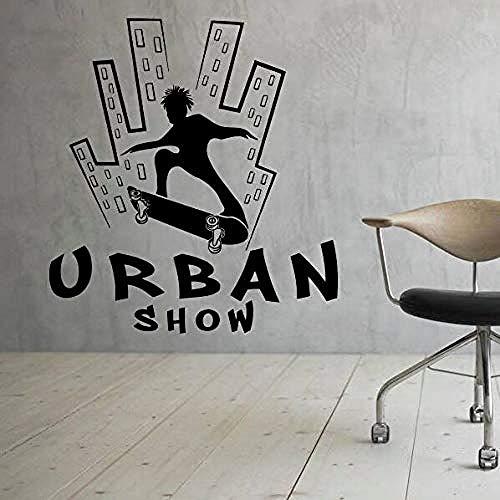 57x62cm Adesivi murali sport estremi ragazzo skateboard urbano, deco casa, decalcomania rimovibile, poster da parete impermeabile, carta da parati in materiale PVC