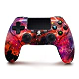PS4 Controller Wireless, Red Nebula Series Dual Shock High Performance Gaming Controller for Playstation 4 /Pro/Slim/PC with Audio Function, Mini LED Indicator, USB Cable