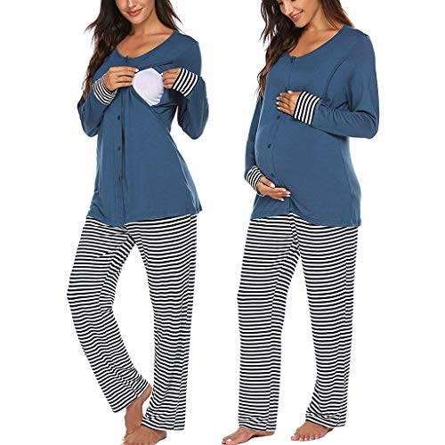 carol -1 Stillpyjama Damen Langarm Umstandsschlafanzug Baumwolle Schwangerschaft Pyjama Set Stillshirt und Umstandsmode Hose Herbst und Winter Stillzeit Stillfunktion