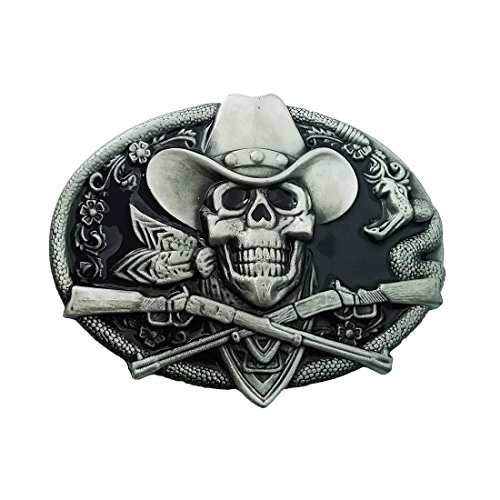 QUKE Western Cowboy Ghost Skeleton Skull with Rifles Guns Belt Buckle Black Enamel