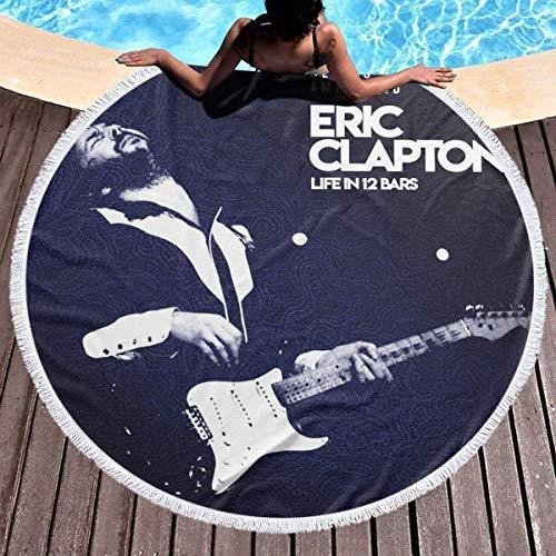 Eric Clapton Life in 12 Bars Microfiber Round Beach Towel Circle Picnic Carpet Yoga Mat Blanket Tapiz decorativo 59inch