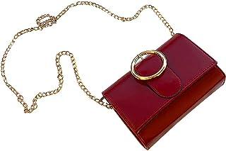 Wultia - Bag Women 2019 Fashion Rivet Solid Color Shoulder Bags Messenger Chain Phone Bag sac bandouli re Femme *0.92 RED
