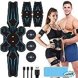 Aiyivve Electroestimulador Muscular, Estimulador Abdominal USB Recargable Estimulador Muscular para Abdominales/Brazo/Piernas/Glúteos, 6 Modos y 9 Niveles de Intensidad, Almohadillas de Gel 14pcs