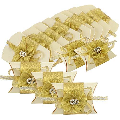 TsunNee, scatola di carta per caramelle con fiore adesivo, cuscino per bomboniere nuziali, scatola regalo stampata, scatole creative di carta per dolcetti, Gold, 24-Pack