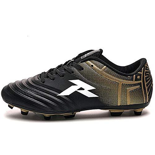 RUNIC Soccer Cleats Mens, Soccer Shoes, Available in Turf, Indoor and Firm Ground Outsoles - Black/Gold (Cleat Outsole), 8