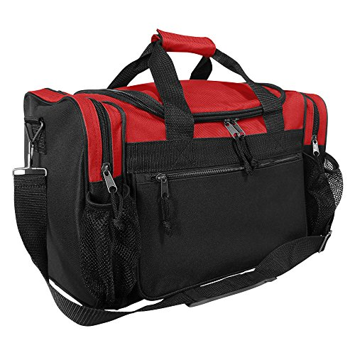 """DALIX 17"""" Duffle Travel Bag with Dual Front Mesh Pockets in Red Michigan"""