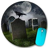 KAPANOU ラウンドマウスパッド カスタムマウスパッド、古い墓石の月と黒いカラスの墓地、PC ノートパソコン オフィス用 円形 デスクマット 、ズされたゲーミングマウスパッド 滑り止め 耐久性が 200mmx200mm