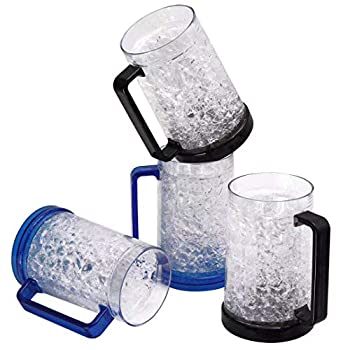 Drinking Glasses Cups Double Wall Gel Freezer Beer Mugs Freezer Ice Mugs Cups 16oz Plastic Cooling Beer Mug Clear Set of 4  2Blue and 2Black