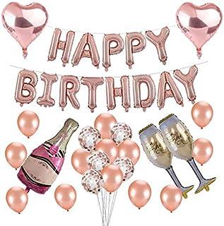 Birthday Party Decorations Gold Rose Happy Birthday Party Champagne Foil Balloon Gold Rose gold Balloon Confetti Balloon P...
