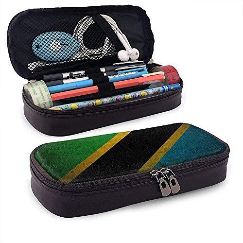 Bandera de los Estados Unidos de Tanzania Caja de lápices de cuero de gran capacidad Bolígrafo Papelería Organizador Titular Oficina Marker Pen Estudiante Papelería Bolsa