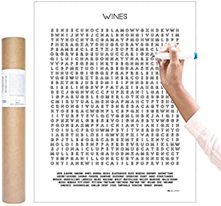 Inkwell Goods 50 Wine Types Coloring Checklist Word Search Wall Art Poster | Activity Print | Home Decor Wall Art | Wine Lover Gift | Made in USA 16 x 20 inches