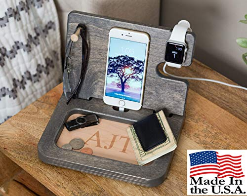 Iphone Docking Station Personalized Mens Gift Desk Organizer Apple Watch Charger Handmade Gift Mens Gift Husband Anniversary Fathers Day Gift Mens Valet