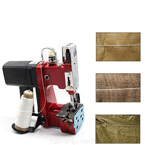 ONEPACK Portable Sewing Machine 110V 6mm Industrial Home Red Electric Bag Stitching Closer for Woven Snakeskin Bag Sack