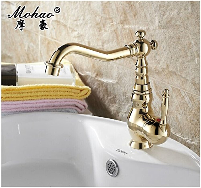 LHbox Basin Mixer Tap Bathroom Sink Faucet Samoa Ho gold faucet bronze basin faucet continental ceramic handles hot and cold water, golden Dragon Head 葫 Lo