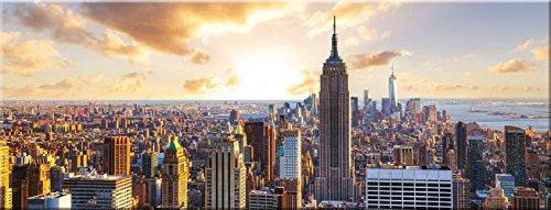 artissimo, Glasbild, 80x30cm, AG1932A, Skyscraper, Skyline von New York, Bild aus Glas, Moderne Wanddekoration aus Glas, Wandbild Wohnzimmer modern