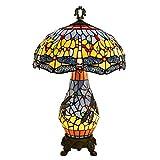 Sala Dormitorio Mesita de luz de la lámpara, Exquisito 40CM Tiffany lámpara de Mesa de Cristal Amarillo de la libélula Vidrio clásico Retro de la Sala de la lámpara lámpara de cabecera Bar en