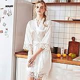 Handaxian Bata de Mujer Pijamas de Seda Satinada Elegante Bata de Encaje Albornoz Casual con Cuello en V para Mujer Blanco XXL