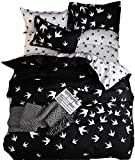 Feelyou Birds Duvet Cover Set Queen for Girls Women Animals Bedding Cover White and Black Decorative Bedroom Microfiber Polyester Comforter Cover with 2 Pillow Shams, Zipper, 3 Pieces