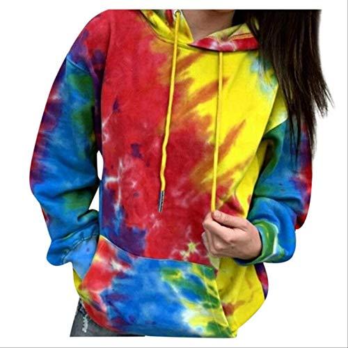 ZCMWY Baumwolle Bunte Frauen Hoodies Übergroße Tie Dye Bedruckte Langarm Kapuzen Damen Tops Loose Pullover Sweatshirt XXXL E.