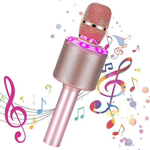 Bearbro Wireless Bluetooth Karaoke Microphone,4 in1 Portable Handheld Speaker Karaoke Mic with LED Lights,Compatible with Android & iPhone Devices,Best Gifts for Girls Boys Adults (Rose Gold)