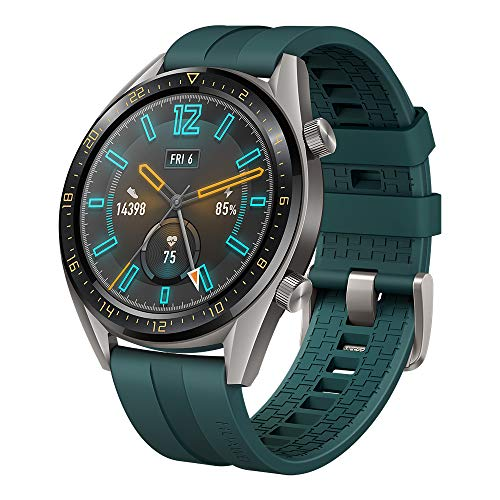 SUNG-LL Huawei Watch GT 2019 (46mm) BT Version, Water Proof, Titanium Grey Stainless Steel - Fluoroelastomer Band Active Dark Green