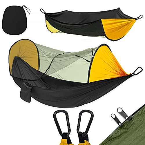 Sitangyan Double Outdoor Camping Hammock with Mosquito Net, Portable Parachute Nylon Hiking Tree Hammock, Travel Outdoor Equipment and Camping Hammock (290 * 140)