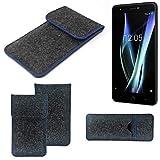 K-S-Trade Filz Schutz Hülle Für BQ Aquaris X Schutzhülle Filztasche Pouch Tasche Hülle Sleeve Handyhülle Filzhülle Dunkelgrau, Blauer Rand