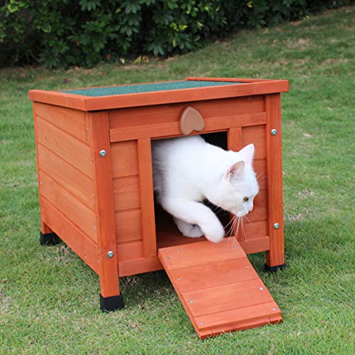 ROCKEVER Feral Cat Condo for Outdoor Cats Insulated, Wooden Bunny House Outdoor Autumn Blonde