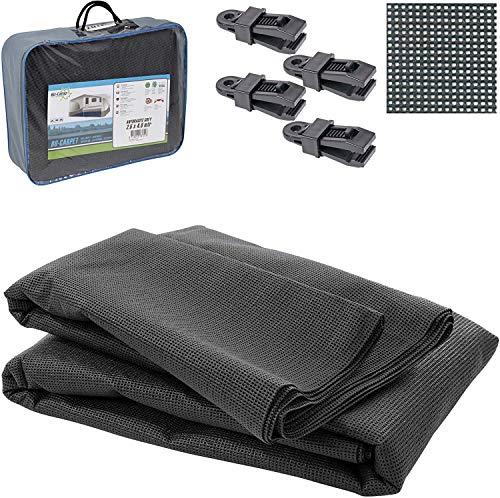 Bocamp Vorzeltteppich Soft 250x400 - ZUSCHNEIDBAR - ohne Ausfransen - formfest - weich - grau - leicht - waschbar - mit Aufbewahrungstasche und Befestigungs Clips - Camping Wohnwagen Teppich Zelt