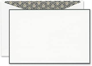 Crane Charcoal Bordered Correspondence Card with Vintage Starlight Lining (CC3632)