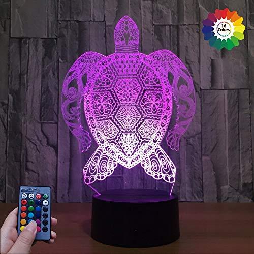 3D Schildkröte Illusions LED Lampen Fernbedienung 7/16 Farbwechsel Acryl berühren Tabelle Schreibtisch-Nacht licht mit USB-Kabel für Kinder Schlafzimmer Geburtstagsgeschenke Geschenk