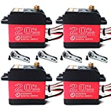 Pack of 4 DS3218 Digital RC Servo Motor 20KG High Torque Full Metal Gear Waterproof for Baja Cars Robot DIY 270°