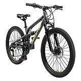 BIKESTAR Kinder Fahrrad Aluminium Fully Mountainbike 21 Gang Shimano, Scheibenbremse ab 9-14 Jahre | 24 Zoll Kinderrad Vollgefedert MTB | Schwarz