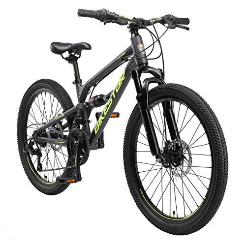 BIKESTAR MTB Mountain Bike Sospensione Completa Alluminio per Bambini 9 Anni | Bicicletta 24 Pollici 21 velocità Shimano, Freni a Disco | Nero